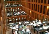 """As salas de estudo individual são construídas em forma de """"escada"""" terminando no vão central."""