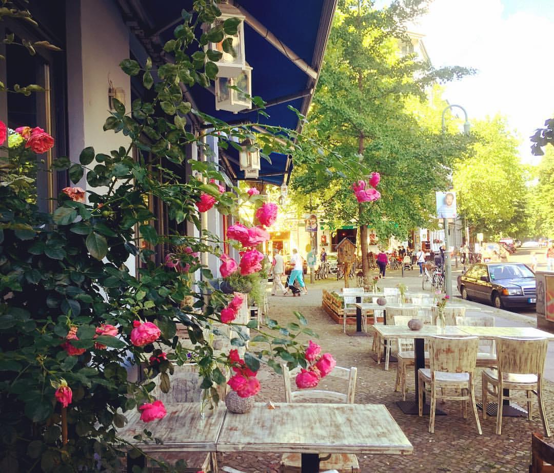 5. Ruas cheias de rosas, lindas, coloridas e perfumadas. Como não amar? #paracegover A imagem mostra as mesas brancas de um café numa calçada larga. Ao fundo, árvores frondosas. O quadro é emoldurado por mini rosas cor-de-rosa. O dia está lindo (Knaackstraße).
