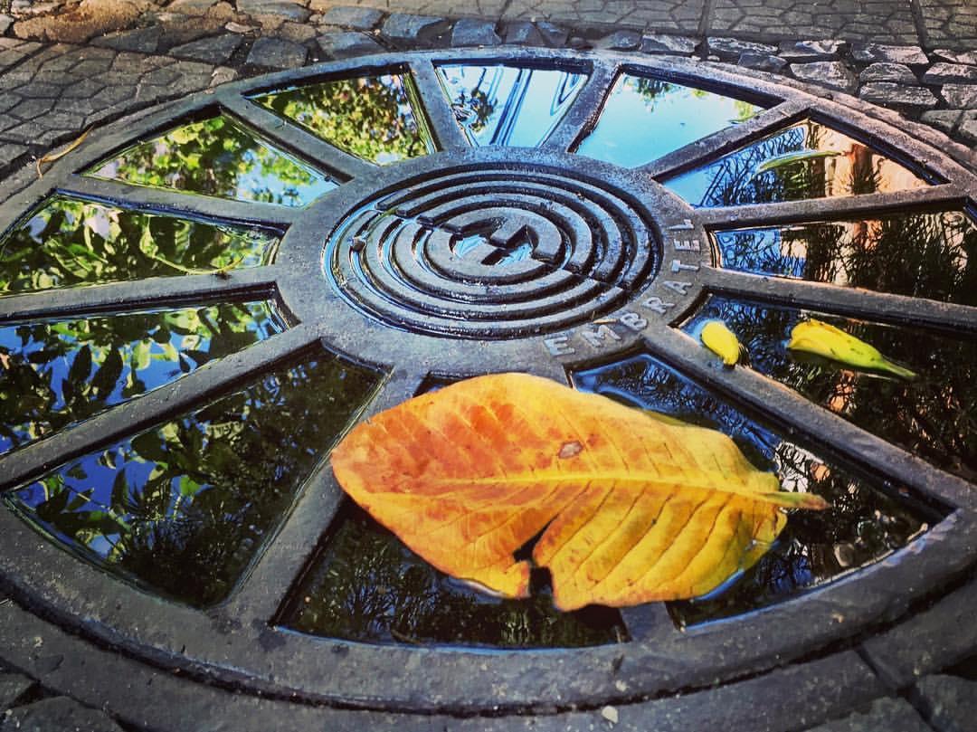 #paracegover A imagem mostra a água empoçada numa tampa de bueiro refletindo o dia lindo. Uma folha amarela completa o quadro. — at Bairro De Lourdes, Bh.