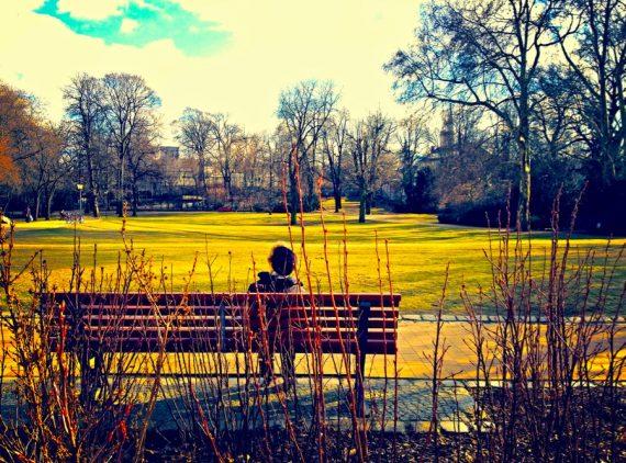 A imagem mostra uma pessoa sentada num banco. Ela é vista de costas, de frente para um amplo gramado num parque.