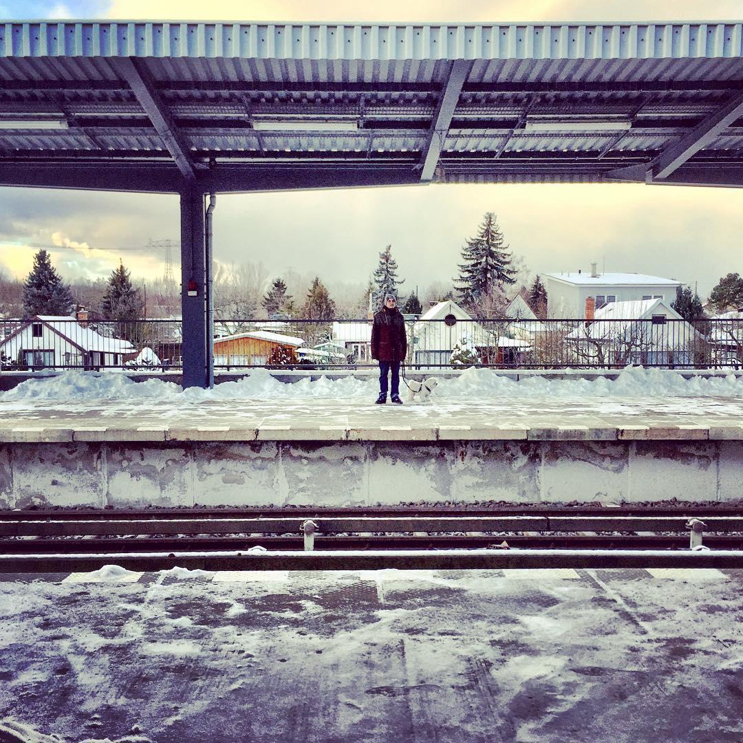 Descrição para deficientes visuais: a imagem mostra a estação de metrô Biesdorf-Süd toda cercada por neve, exceto por um homem e seu cachorro branco. — in Biesdorf Süd, Berlin, Germany.