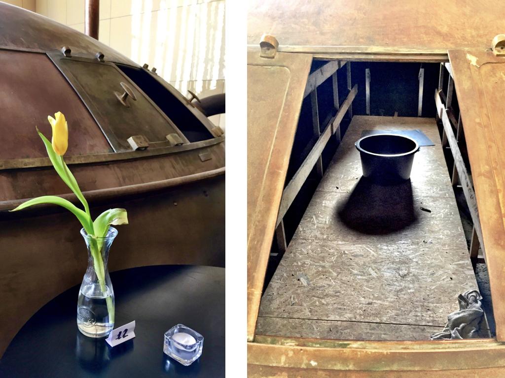 #paracegover Descrição para deficientes visuais: são duas imagens nesse bloco; a primeira mostra o detalhe da porta aberta de um dos tanques, com uma tulipa amarela em primeiro plano. A segunda mostra o que tem dentro do tanque; um balde no centro e um pano úmido no canto.