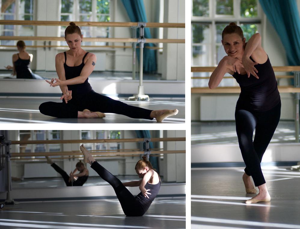 Mosaico de fotos com posições de dança