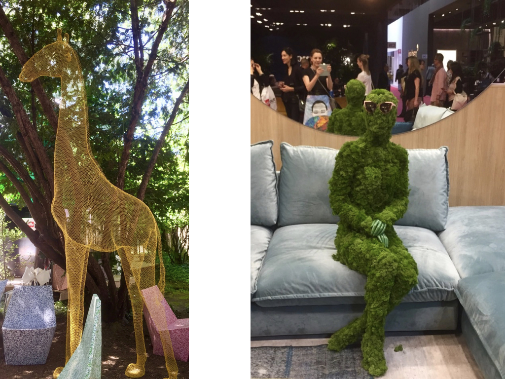 Uma divertidíssima girafa em tamanho real construída em aramado amarelo; impossível não amar. E um pensativo homem verde coberto de plantas calmamente sentado num sofá de grife usando óculos escuros. Adoro!!!