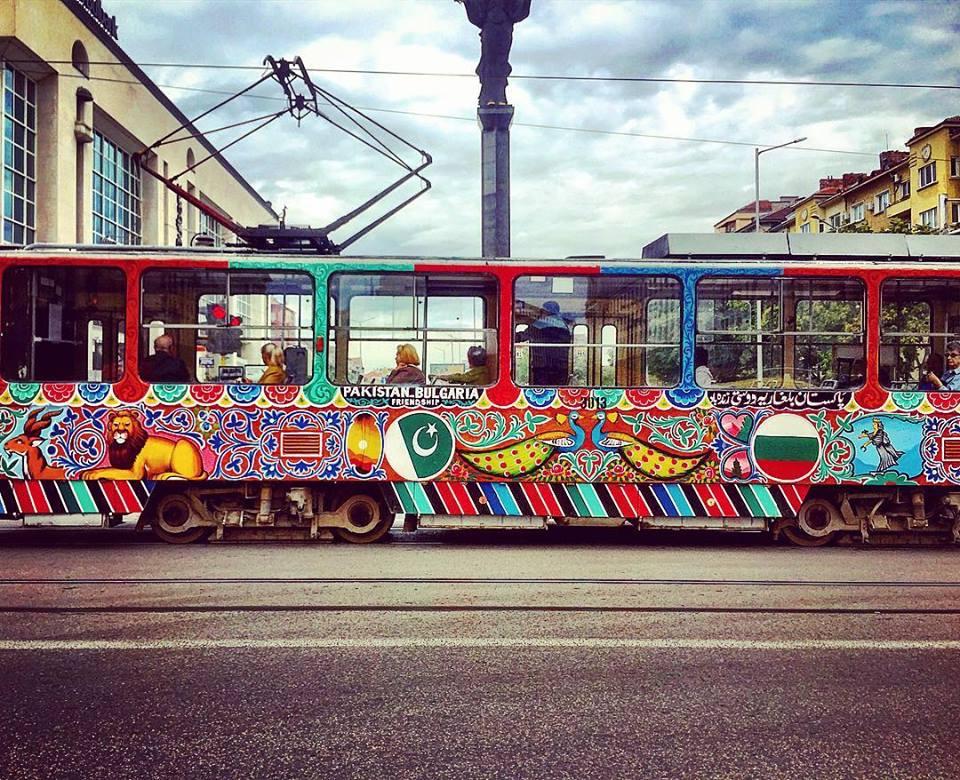#paracegover Descrição para deficientes visuais: a imagem mostra um tram passando pela rua todo estampadinho. É uma campanha de amizade entre a Bulgária e o Paquistão. — at Church of St Petka of the Saddlers.
