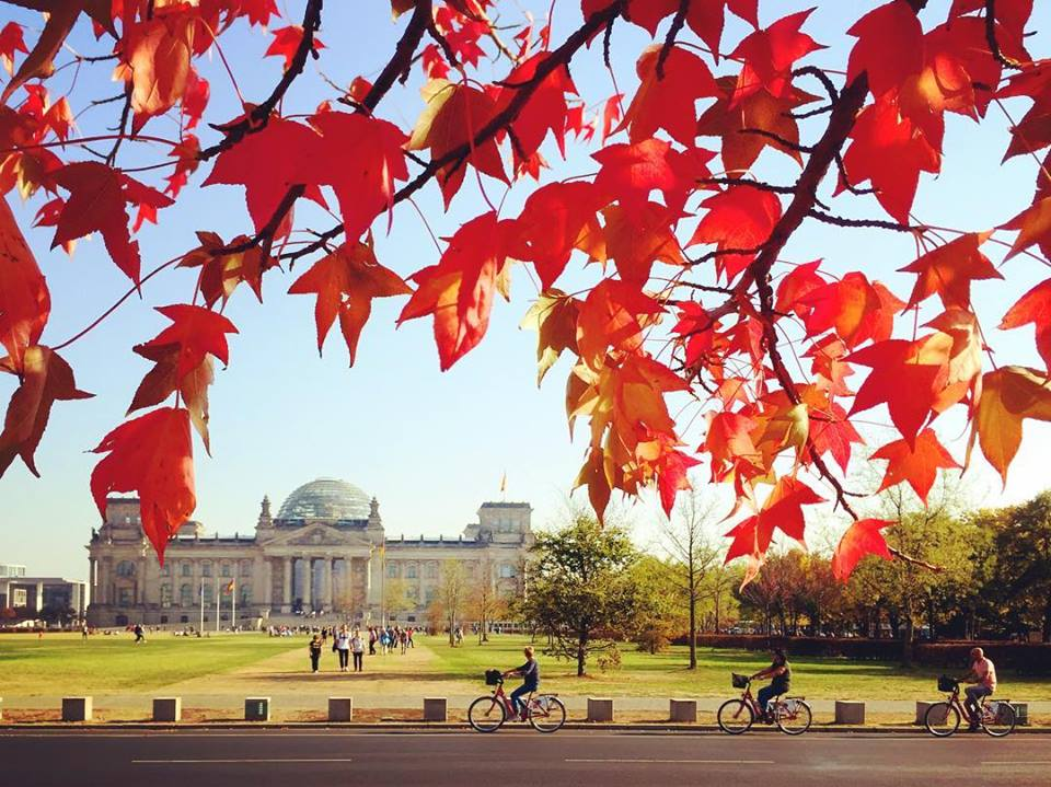 #paracegover Descrição para deficientes visuais: a imagem mostra a fachada do prédio do Parlamento Alemão ao fundo. Em primeiro plano, folhas vermelhas da árvore em cuja sombra me abrigo para tirar a foto. Na rua em frente, passam três ciclistas. — at Deutscher Bundestag.