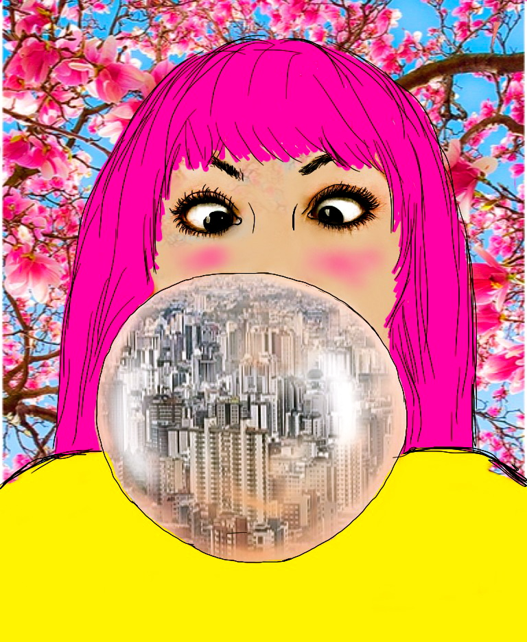 BH é cheia dessas árvores cor-de-rosa; a bola de chicletes tem a cidade dentro.