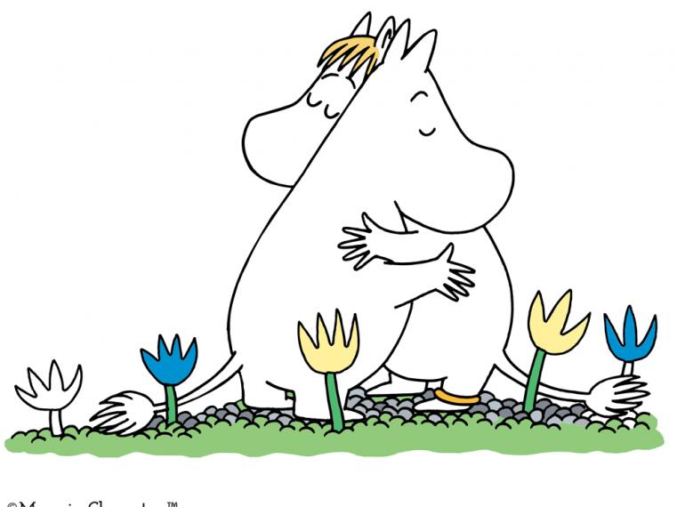 O desenho mostra um casal de Moomins (seres parecidos com hipopótamos brancos) abraçados.