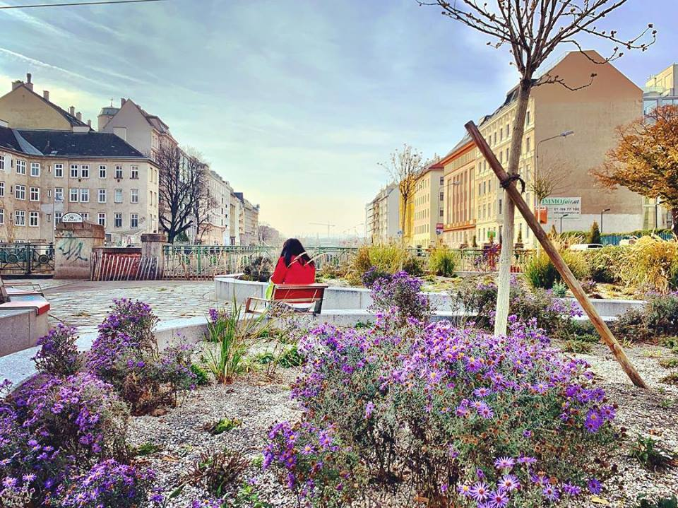 #paracegover Descrição para deficientes visuais: uma mulher de casaco vermelho está sentada de costas numa praça sobre uma ponte. Em primeiro plano, florzinhas lilases. — at Neville-Brücke.